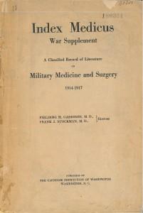Page de titre de l'Index medical war supplement 1914-1917