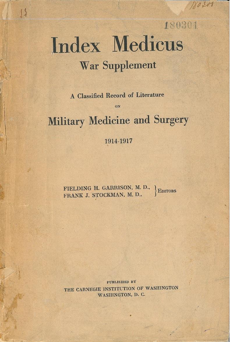 Couverture de l'index medical war supplement 1914-1917