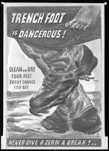 Affiche produite par le service médical des armées américaines invitant les soldats a surveiller l'hygiène de leurs pieds.