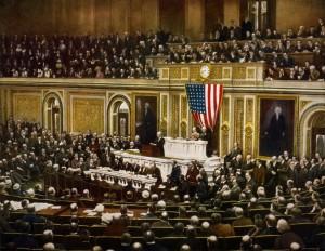 Le 2 avril 1917, le Président Woodrow Wilson appelle le Congrès à déclarer la guerre à l'Allemagne