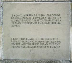 Plaque commémorative de l'assassinat de François-Ferdinand à Sarajevo