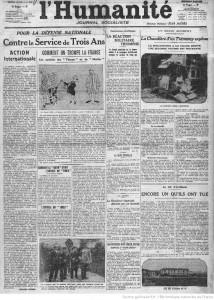 Article de L'Humanité sur la réunion du Conseil supérieur de la guerre du 5 mars 1913