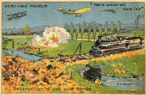 Carte postale illustrant la vision des frères Michelin concernant l'aviation de bombardement.