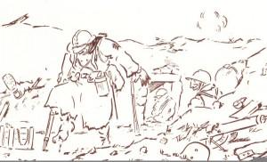 """""""Je m'en vais, ils m'ont coupé l'orteil""""       Dessin ironique de Pierre Dantoine intitulé """"la fine blessure"""". Il témoigne des mutilations que s'infligent les soldats pour échapper aux combats."""