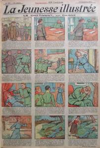 Première page du centième numéro de l'hebdomadaire La Jeunesse illustrée, publié en 1917. Elle montre les atrocités commises par les soldats allemands.